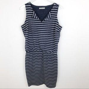Athleta Linen Striped Mini Sleeveless Dress Med